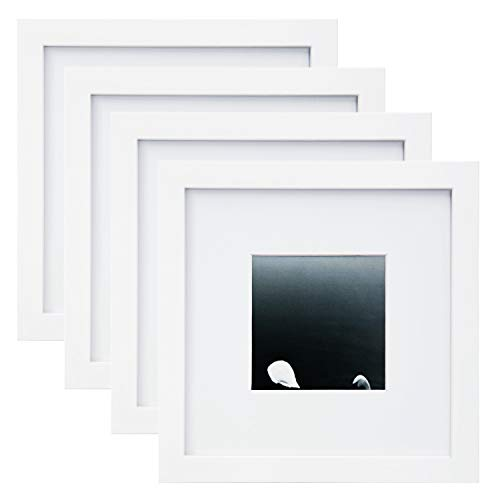 Egofine 8x8 Picture Frames 4 PCS for Pictures 4x4 with Mat Made of Solid Wood for Table Top Display and Wall Mounting Photo Frame White (Square Picture Frame White)