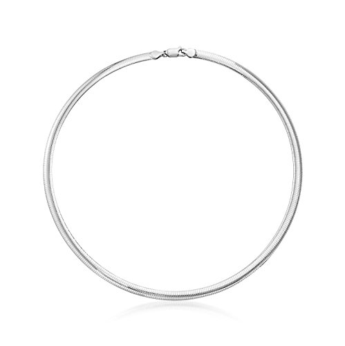 NYC Sterling Unisex 6mm Omega Chain Necklace in Sterling Silver - 6 Omega Mm Necklace