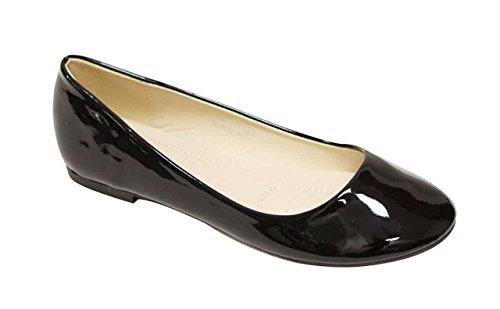 Bella Marie Stacy-11 Women's round toe patent leather slip on boat ballet flat shoes Black 9