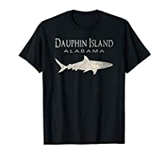 Retro Dauphin Island AL Shark T-Shirt. The perfect souvenir shark tee! A classic style vintage distressed aged 70s 80s style Dauphin Island Alabama shark t-shirt. Inspired by the beaches of Alabama. This 1980s style shark tshirt will look gre...