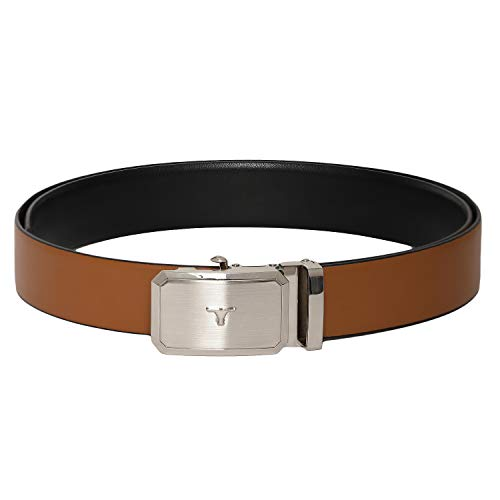 - Otuoro Men's Handmade soft black and tan reversible belt with nickle autolock Buckle