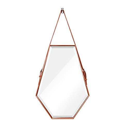 Home Accessories Wall-Mounted Porch Mirror Hexagonal Diamond-Shaped Washbasin Makeup Mirror Leather Border Mirror (Color : Black/Orange, Size : 50 -
