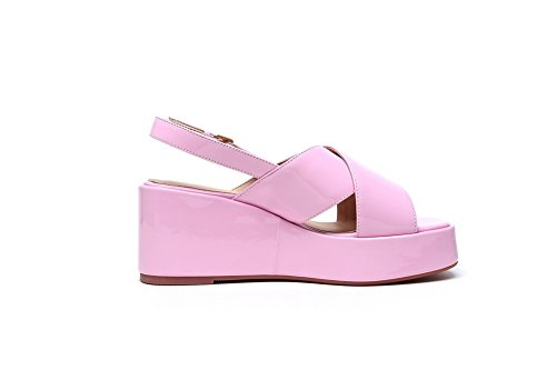 WeenFashion Patent Heels Open Pink Buckle High Solid Toe Sandals Women's Leather rgWrCqp