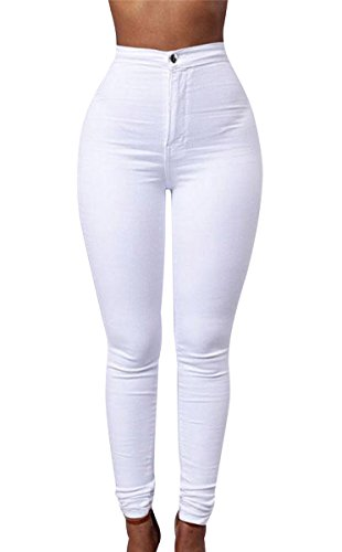 Women's High Waist Denim Jeans Pencil Stretch Skinny Leggings Casual Workout Pants White L