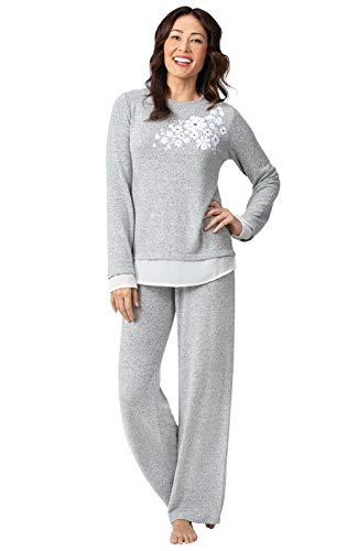 PajamaGram Floral Print Ladies Pajamas - Womens Pajama, Gray, XS, 2-4 (46 Piece Set)