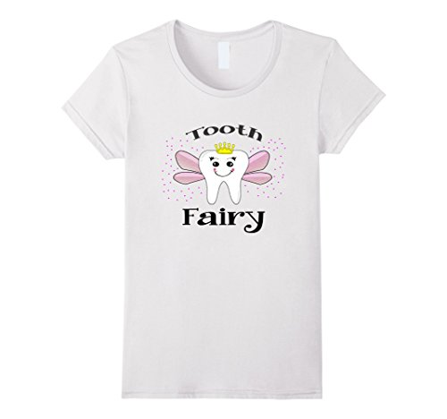Tooth Fairy Costume Kids (Womens Tooth Fairy Halloween Costume T-shirt for Women and Girls Small White)