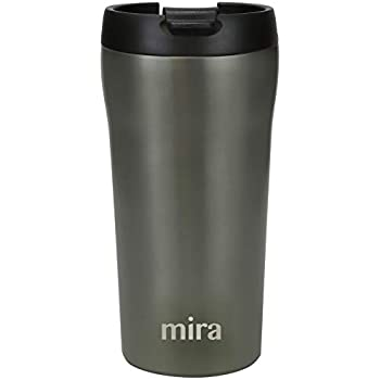 MIRA 12 oz Stainless Steel Insulated Travel Mug for Coffee & Tea | Vacuum Insulated Car Tumbler Cup with Spill Proof Twist On Flip Lid | Thermos Keeps Drinks Steaming Hot or Ice Cold | Gray Satin