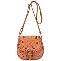حقيبة للنساء-بني - حقائب طويلة تمر بالجسم