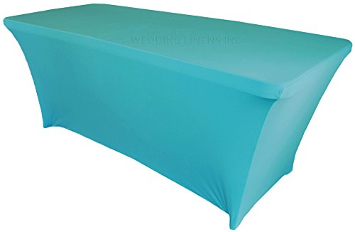 Wedding Linens Inc. Wholesale (200 GSM) 6 FT Rectangular Spandex Stretch Fitted Table Cover Tablecloths Turquoise