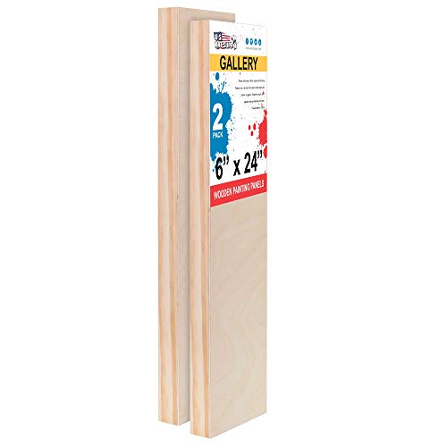 U.S. Art Supply 6 x 24 Birch Wood Paint Pouring Panel Boards, Gallery 1-1/2 Deep Cradle (Pack of 2) - Artist Depth Wooden Wall Canvases - Painting Mixed-Media Craft, Acrylic, Oil, Encaustic