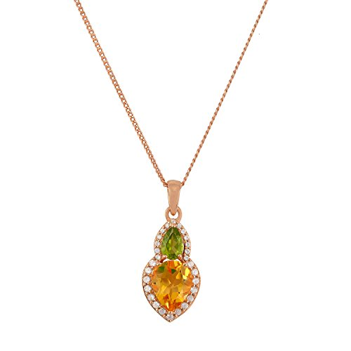 925 Sterling Silver, Natural Gemstone Pendant Necklace for Women, 18 inches