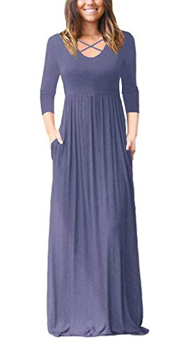 (Women's 3/4 Sleeve Maxi Dress Loose Plain High Waist Cross Criss Casual Long Dresses with Pockets Purple Grey Medium)