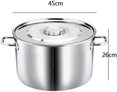 LXD Pot, Grand stock de cuisson profond en acier inoxydable Pot Casserole Couvercle en acier inoxydable, séparation pot, cuisson des aliments différents à la même heure