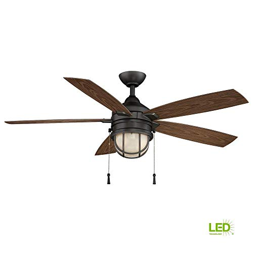 Hampton Bay Seaport 52 in. LED Indoor/Outdoor Natural Iron Ceiling Fan with Light ()