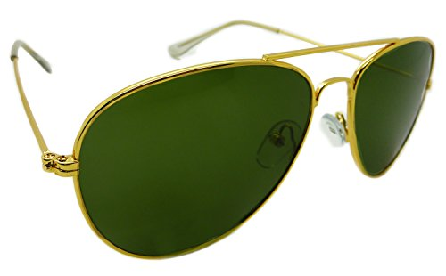 Aviator Sunglasses Classic Style Metal Gold Frame Green Genuine Real Glass - Sunglasses Aviator Real