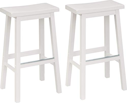 AmazonBasics Classic Solid Wood Saddle-Seat Kitchen Counter Stool with Foot Plate 29 Inch, White, Set of 2 ()