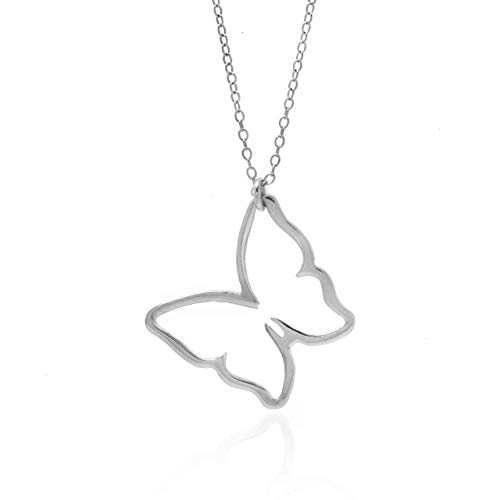 BUTTERFLY NECKLACE - PURE Sterling Silver Necklace (Handmade in the USA by Gracefully Made Jewelry)