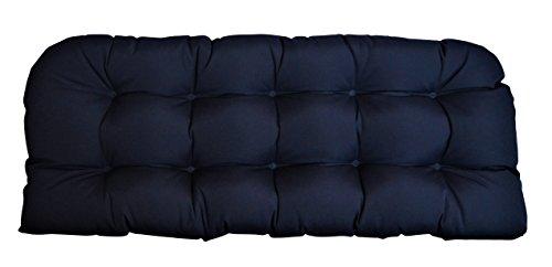 (RSH DECOR Sunbrella Canvas Navy Large Wicker Love Seat Cushion 44