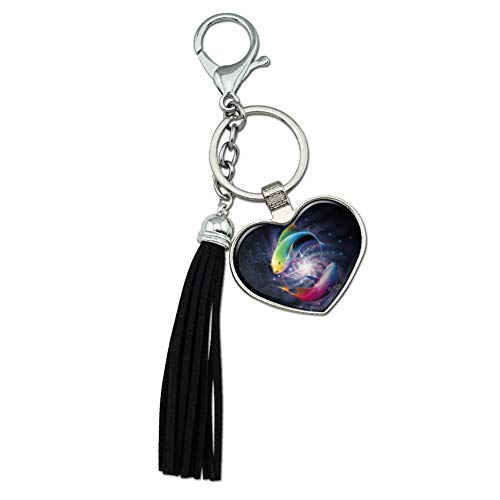 Graphics and More Pisces Zodiac Symbol Fish in Space Yin Yang Chrome Plated Metal Heart Leather Tassel Keychain