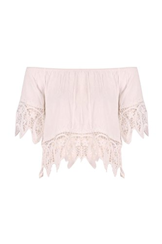 Ladies Crochet Bardot Top US Size 6-12 (S/M (US 6-8), Ivory)