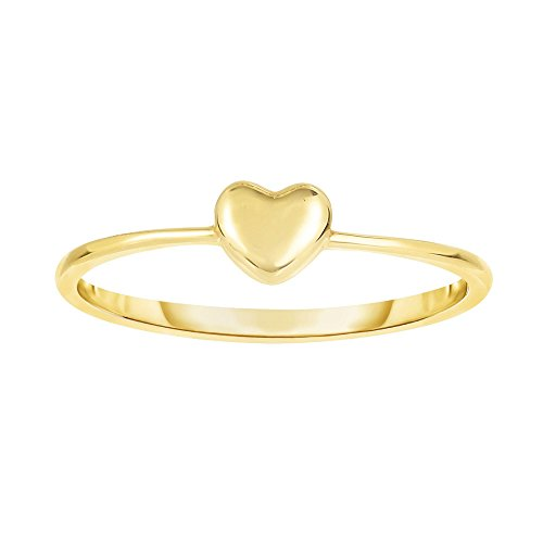 14k Yellow Gold Size 7 Polish Finish Puffed Heart Ring by Diamond Sphere