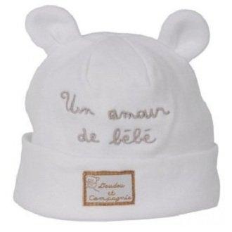 cc51a2122a6d Bonnet naissance blanc ours RP149 Doudou et Compagnie  Amazon.fr ...