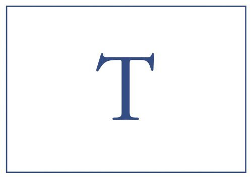 Caspari Entertaining Embossed Navy Initial-T Blank Notecards, Box of 32