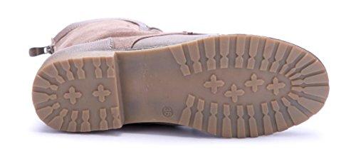 Schuhtempel24 Damen Schuhe Flache Stiefeletten Stiefel Boots Flach Reißverschluss 2 cm Khaki
