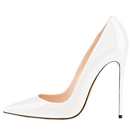 - Lovirs Womens White Patent Pointed Toe High Heel Slip On Stiletto Pumps Wedding Party Basic Shoes 10 M US