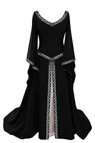 Larga Negro Rojo Cuello Vintage Vestido Manga para de V V tianxinxishop Negro en Disfraz Medieval Largo Mujer 6qRZtxw7
