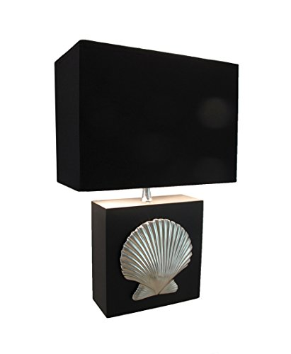 Resin Table Lamps 16 Inch Chrome Plated Scallop Shell Table Lamp With Fabric Shade 11 X 16 X 5.5 Inches Black (Sea Shade Scallop)