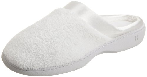 Calfskin Womens Casual Shoes - Isotoner Women's Microterry PillowStep Satin Cuff Clog Slippers, White, 9.5-10 B(M) US