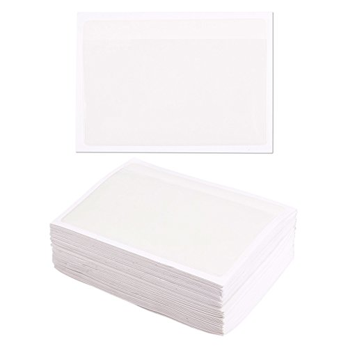 100-Pack Self-Adhesive Index Card Pockets with Top Open for Loading - Ideal Card Holder for Organizing and Protecting Your Index Cards - Crystal Clear Plastic, 3.6 x 5.25 - Card Label Holders