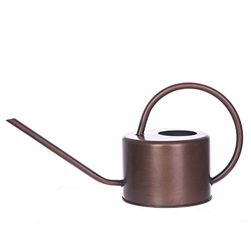Topadorn Metal Wating Can 34 Oz. Modern Style Watering Pot with Handle and Long Spout,Gold (Metal Spout Watering Can Long)