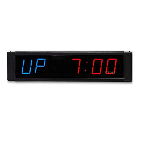 BTBSIGN 1'' LED Interval Timer Workout Timing Countdown Wall Clock With Remote (Workout Timer)