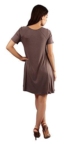Double Zero Womens Swing T Shirt Dress | Double Zéro Des Femmes De Balançoire T Robe Chemise | Basic Short Sleeve Flare Dress | Robe Évasé À Manches Courtes De Base | Casual Mini Dress Brown Brun Mini-robe Décontractée
