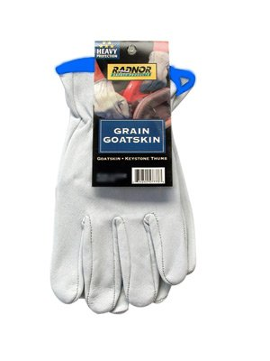 Radnor X-Large White Premium Grain Goatskin Unlined Drivers Gloves (3 Pairs)
