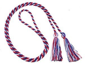 Three-color Braided Honor Graduation Cords (Red/White/Royal Blue-mixed (Blue Cord)