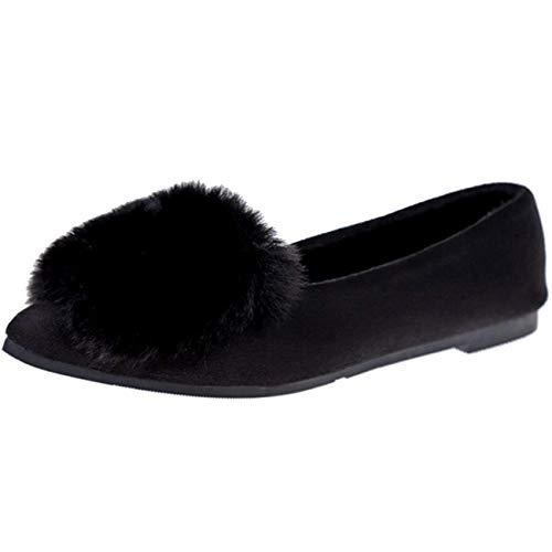 Da Ballerine Nero Dimensione Pelliccia 3 Slip Punta Moontang on Nero colore Shoe A Uk Flat Con Piatta Donna EZqy1v6p