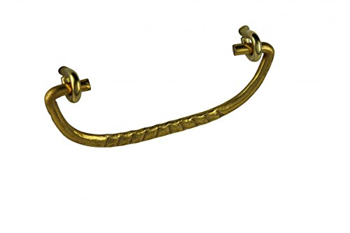 (Solid Brass Ribbed Cabinet Drawer Pull Bail 3 3/4