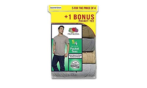 Fruit of The Loom Men's Pocket T-Shirts 5-Pack Assorted Colors. Sizes- M-3XL (XXX-Large (54-56), Multi-Color)