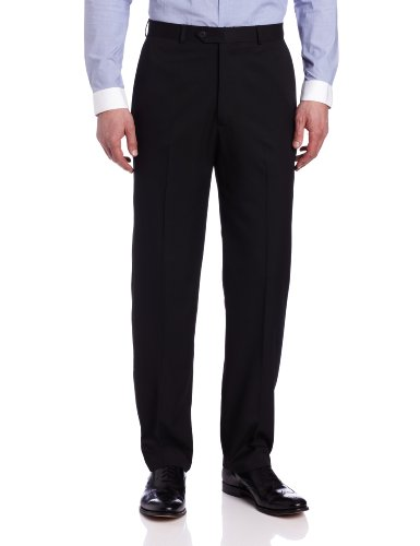 Haggar Men's Solid Plain-Front Suit Separate Pant
