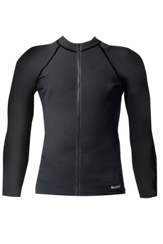Aeroskin Raglan Long Sleeve Shirt with Color Accents, Fuzzy Collar and Front Zip (Black, XX-Large)