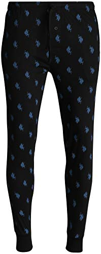 U.S. Polo Assn. Mens' Knit Jogger Lounge Pajama Pants with Allover Print, Black, Size Large'