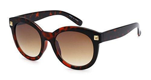 Eason Eyewear Men/Women's Round Indie Fashion Sunglasses 54 mm Red Cheetah - Indie Fashion Male
