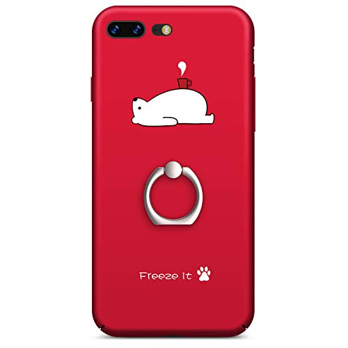 iPhone 7 Plus Case, GVIEWIN iPhone 8 Plus Case for Women, Slim Fit Hard Shell with Ring Stand Full Protective Anti-Scratch Resistant Cover Case for Apple iPhone 7 Plus/iPhone 8 Plus -Red Bear