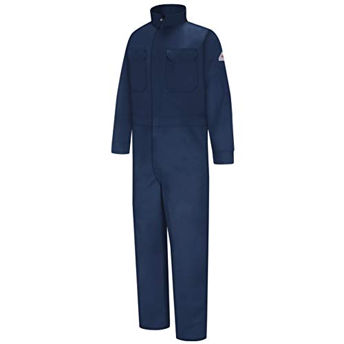Bulwark Mens Flame Resistant 9 oz Twill Cotton Premium Concealed Snap Coverall, Navy, 42
