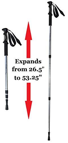 BAFX Products 2 Pack Anti Shock Hiking / Walking / Trekking Trail Poles 1 Pair, Silver