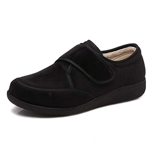 (W&Lesvago Women's Adjustable Closures Diabetic Slippers - Extra Wide Arthritis Edema Shoes (7.5, Black))
