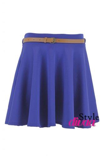 Reale Patineuse Couleur Ceinture SD Femmes Uni Blu Jupes Evases 8qxtR6Y